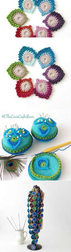 Free knitting pattern in English and Dutch languages: French mini-Peacock Feather   TheCurioCraftsRoom