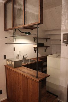 """Even just 12"""" depth counter space can be used for tiny kitchens (this top made with inexpensive 1 x 12 pine wood plank)."""
