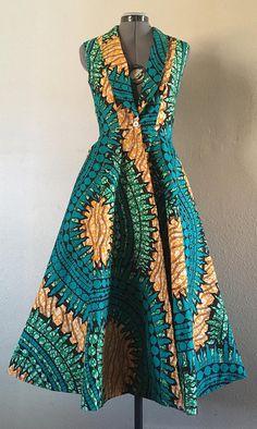 Lush and Gorgeous African Wax Print Sleeveless Jacket Dress