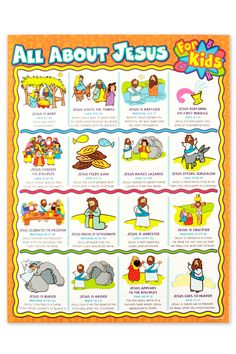 Carson-Dellosa, All About Jesus for Kids Chart, 17 x 22 Inches, 1 Piece Jesus Story For Kids, Stories For Kids, Preschool Bible, Preschool Games, Toddler Preschool, Bible Lessons For Kids, Bible For Kids, 1st Grade Activities, Youth Activities