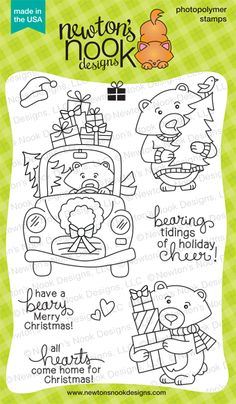 Winston's Home for Christmas - 4x6 Holiday Bear Stamp set by Newton's Nook Designs