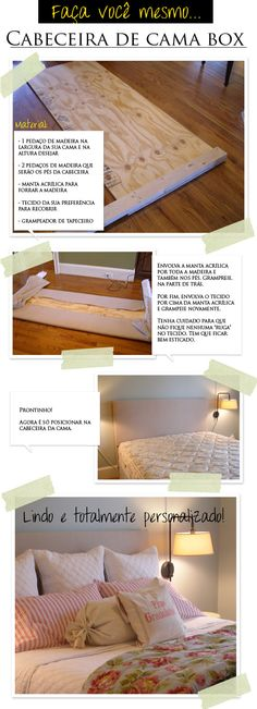HOT! Cabeceira de cama !!!!!!!! Diy Casa, Diy Headboards, Inspired Homes, Home Organization, Bed Frame, My Dream Home, Home Projects, Decoration, Diy Design