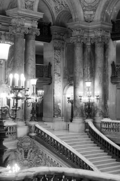 Paris Photography - Opera Garnier, Ornate, Black and White Architectural