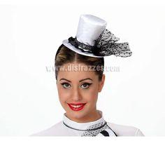Mini Sombrero de Novia blanco y negro con diadema. Ideal para Despedidas de Soltera.