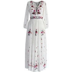Chicwish Wondrous Floral Embroidered Maxi Dress (515 SEK) ❤ liked on Polyvore featuring dresses, gowns, vestidos, long dress, maxi dresses, white, v-neck maxi dresses, white evening dresses, long dresses and white gown