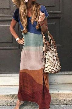 Multicolor Casual Boho V Neck Short Sleeve Maxi Dress Source by Dresses Look Boho, Look Chic, Maxi Dress With Sleeves, Short Sleeve Dresses, Sleeved Dress, Long Sleeve, Dress Robes, Short Sleeves, Casual Dresses