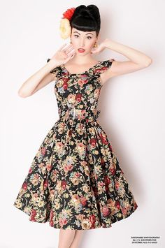 The Vintage Doll looks gorgeous in her Lindy Bop 'Hetty' black spring garden floral party dress!