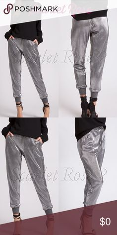 🌹Silver Metallic Jogger Pants🌹 We are LOVING these premium quality silver metallic jogger pants. Make a fashion statement with these and pair with a nice top and heels, and you'll certainly turn some heads (but in a good way, of course 😉). They have subtle vertical stripes in the material, which creates a nice slimming effect, and who doesn't love that?! Metallics are in right now, so get in on it, and lead the trend with your style. Modeled pics coming soon. Price is firm unless bundled…