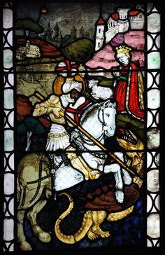 Ulm, Ulmer Münster, Neidhardtkapelle, Nordfenster in der mittleren Halle (Führer Nr. 24.2), Hl. Georg mit dem Drachen; Hans Acker, Ulm um 1440