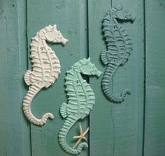 Seahorse Sign Cast Iron Wall Art Beach House door CastawaysHall