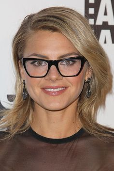 Round faces have full cheeks without many angles.  The width and length of your face is roughly the same.Avoid glasses with a lot of curves in them, any that mimic your face shape.  Instead, go for straight, angular frames that will add more structure to your face.  Darker frames are also helpful, because they draw attention to the lines of your glasses, and define your face. Finally, choose lenses that are wider than they are deep. via StyleList