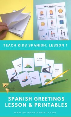 Spanish Greetings Lesson Plan: free printables and plan Spanish Games For Kids, Preschool Spanish, Spanish Lessons For Kids, Spanish Basics, Spanish Lesson Plans, Spanish Activities, Spanish Classroom, Learning Activities, French Lessons