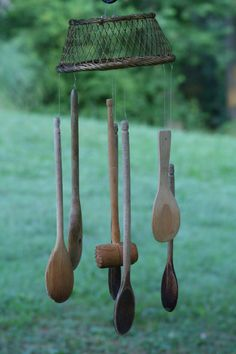 Handmade Windchimes - ONE OF A KIND - Basket & Wooden Spoons - $15 plus shipping