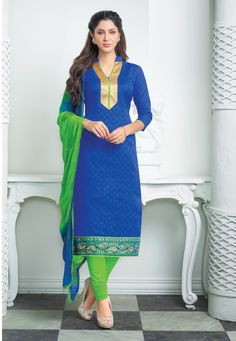Classy Blue & Green Churidar Salwar Suit Dress Material-2005