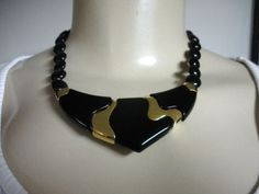 80s black and gold Napier almost choker
