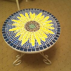 Tiled sunflower side table I made