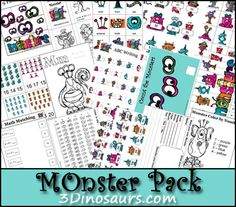 3 Dinosaurs - Monster Pack Freebie  Will be great for the beginning of the school year