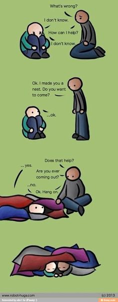 """I have seen so many pins on """"how to treat an introvert/INFJ"""" and things like that and they're full of bs. THIS is the best, most accurate one I think I will ever see. I might go as far as to make myself this nest on my living room and bedroom floor. Helping Someone With Depression, Depression Help, Depression Support, Depression Hurts, Depression Cartoon, Thoughts, Anam Cara, Fibromyalgia, Humor"""
