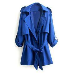 Special Lapel Design Blue Trench Coat | pariscoming