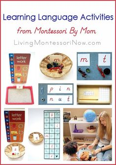 Lots of Montessori activities for learning language, featuring materials from Montessori By Mom. Ideas for toddlers through early elementary; post includes embedded video with I Spy games.