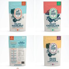 Eye-catching paleo cake and muffin mix packaging design by THELOGOLOUNGE. Yogurt Packaging, Baking Packaging, Organic Packaging, Bread Packaging, Cookie Packaging, Food Packaging Design, Packaging Design Inspiration, Chip Packaging, Pouch Packaging