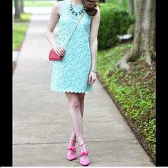 J. Crew Dress Mint green laser cut dress. Only used once. J. Crew Dresses