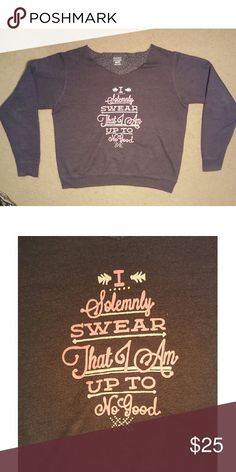"Harry Potter Sweatshirt Harry Potter quote sweatshirt ""I Solemnly Swear That I Am Up To No Good"" Hand painted in pink and white script Raw v-neck detailing  Charcoal Sweatshirt Hanes Tops Sweatshirts & Hoodies"