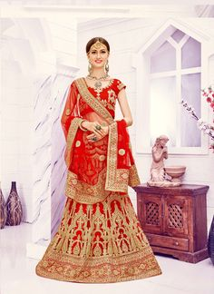 44dc722ba0 Red and Beige Colour Net and Art Silk Designer A-Line Lehenga Choli Comes  With Matching Blouse and Dupatta. This Lehenga Choli Is Crafted With Zari  Work ...