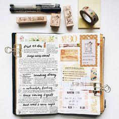 Week 30 in my MTN #midoritravelersnotebook #travelersnotebook #travelersnote #travelerscompany #diary #journal #artjournal #creativejournal #planner #weeklyplanner #maskingtape #washitape #memorykeeping #stationeryaddict #stickers #ephemera #stamps #potteringcat #paperlove #chamilgarden #handwriting Scrapbook Journal, My Journal, Journal Notebook, Journal Pages, Journal Ideas, Planner Journal, Journal Prompts, Smash Book, Bujo