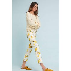 Pilcro and the Letterpress Pilcro Lemon Grove High-Rise Cropped... ($118) ❤ liked on Polyvore featuring jeans, yellow motif, boot-cut jeans, blue ripped jeans, cropped bootcut jeans, high waisted distressed jeans and high-waisted skinny jeans