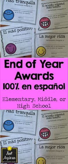 Spanish award certificates - Spanish superlatives - Appropriate for Elementary, Middle, or beginning High School Spanish learners. By Sol Azúcar.