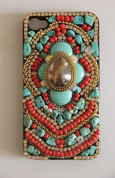 Custom Handmade Unique iPhone Cases iPhone 5 Cases Bohemia Style iPhone 4 Case red beads turquoise iPhone 4s Case. $37.00, via Etsy.