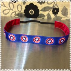 Captian America running headband 7/8 inches wide by ChickyBands