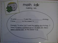 Sentence frames for Math Talk! Good example of supporting academic language