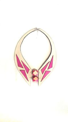 Geometric statement necklace Collar leather necklace by julishland, $33.00