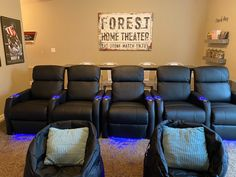 Home Theater Room Our Basement Makeover - Chaylor & Mads Theatre Room Seating, Movie Theater Chairs, Theater Room Decor, Home Theater Room Design, Home Cinema Room, Theater Seats, Basement Makeover, Basement Ideas, Basement Bars