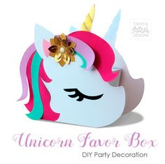 You know unicorn is a hot trend right now! So I decided to make some themed cut files. This cute unicorn favor box is perfect for the party favors, pop Unicorn Birthday Parties, Unicorn Party, Unicorn Valentine, Valentines Day, Easy Diy Crafts, Crafts For Kids, Panda Craft, Homemade Wedding Favors, Origami