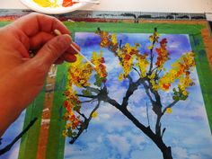 I was looking at my  Fall Trees project  and wanted to try a variation.   Bright blue sky with vibrantly colored leaves on the trees...t...