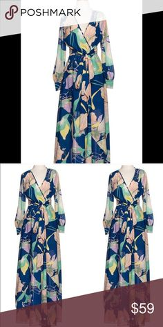 """Floral Long Sleeve Maxi Dress Brand new with tags; size SMALL; flowy floral print fabric; waist tie; elastic waist; navy blue dress with colorful floral design; 100% polyester. This dress has a inner lining mini skirt. --MEASUREMENTS (approx.)-- Shoulder to wrist: 22.5""""; Shoulder to shoulder: 12""""; Waist: 24""""-29""""; Waist to hem: 44""""; Shoulder to waist: 14"""". Dresses Maxi"""