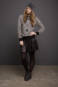 """Hoodies - Sweater """"Derby"""" in grau mit Print - ein Designerstück von Stoffbruch-Online-Shop bei DaWanda"""
