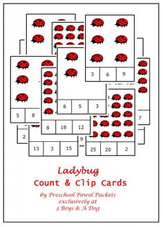 Free Ladybug Count Clip Cards by Carla of Preschool Powol Packets at 3 Boys and a Dog Free Preschool, Preschool Themes, Preschool Printables, Preschool Learning, Preschool Activities, Preschool Prep, Therapy Activities, Fun Learning, Montessori