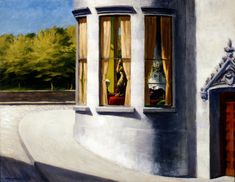 Edward Hopper (1882-1967)* was a prominent American* realist painter and printmaker. While he was most popularly known for his oil paintings, he was equally proficient as a watercolorist and printmaker in etching. Both in his urban and rural scenes, his spare and finely calculated renderings reflected his personal vision of modern American life. For biographical notes -in english and italian- and other works by Hopper see: