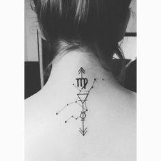 Virgo tattoo by Abel Garcia in Gruta tattoo #Virgo #Constelation #constelacion #earth #tierra #mercury #mercurio #neck #cuello #ink #tattoo #tatuaje #simbol #simbolos #horoscopo #horoscope