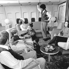 "Boeing 747 cabin service by UAL, 1972. ""My name is Slick, I'll be your flight attendant today. May I offer you people some white wine, some white rum, or perhaps a white russian?"""