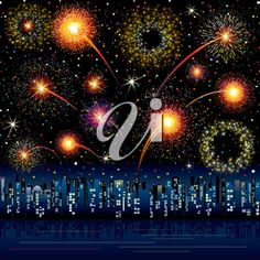 iCLIPART - Clip Art Illustration of Fireworks Exploding over a City