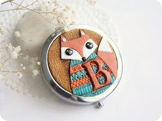 Personalized gift for new mom gift unusual gift for wife gift Animal lover gift Woodland accessories Pocket mirror Fox lover gift orange fox