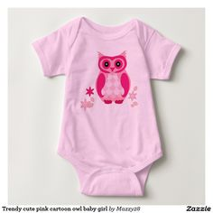 Trendy cute pink cartoon owl baby girl infant creeper