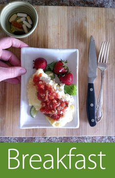 May 1st 2013 - W13D1 - Breakfast - Two eggs, cottage cheese, salsa, greens, strawberries. Vits & supps.