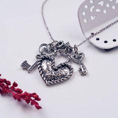 Silver Charm Necklace PazCreationsJewelry Key To My Heart