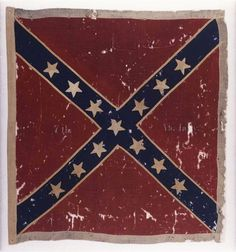 The Confederate flag of the 7th Virginia Infantry Army of Northern Virginia Obverse captured at the Battle of Gettysburg, Pa., in July 1863 by the 82nd New York Infantry.